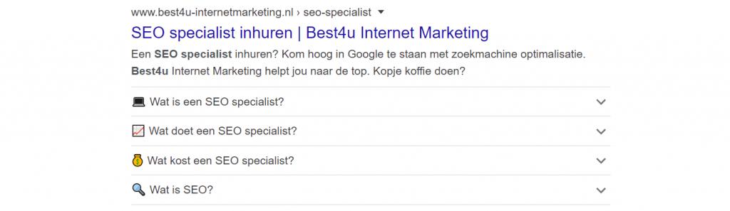 Rich snippet voor zoekresultaat seo specialist Onwise